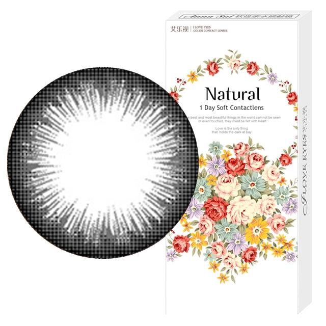 艾乐视新大美目系列年抛美瞳1片装—自然精灵黑