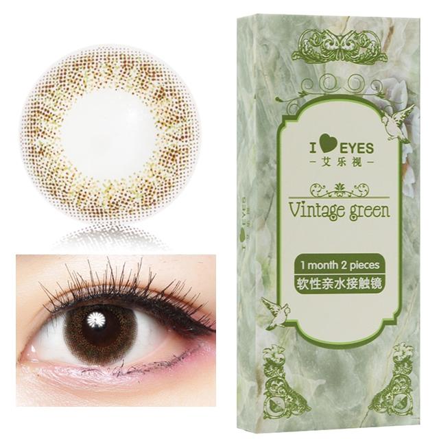 艾乐视复古月抛2片装14.0美瞳隐形眼镜-绿色