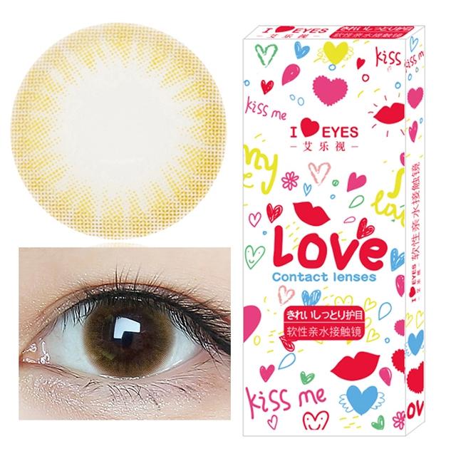 韩国进口艾乐视大小直径年抛美瞳1片装-糖果棕