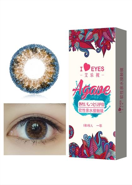 艾乐视混血棕蓝色年抛1片14.2美瞳隐形眼镜-棕蓝色